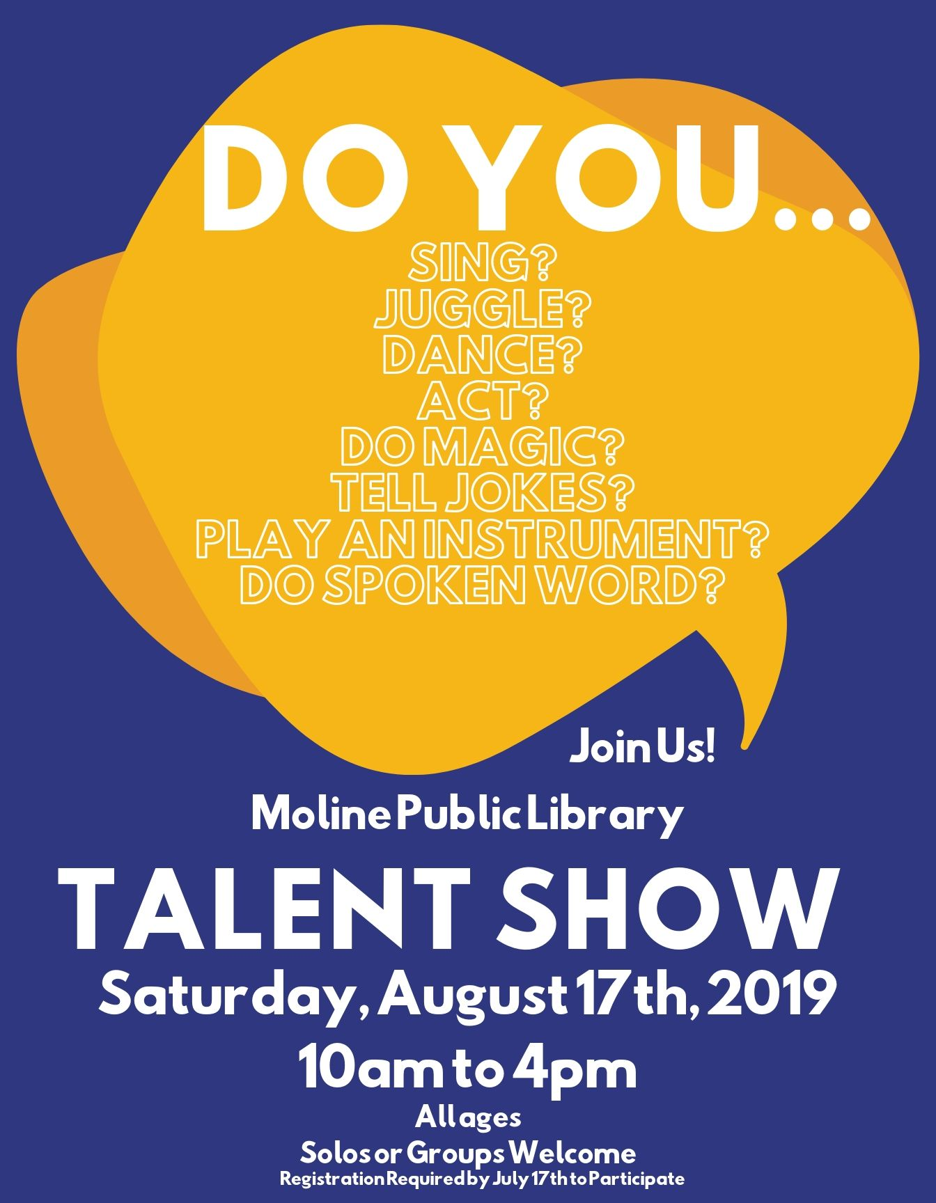 Moline Library Talent Show on August 17, 2019
