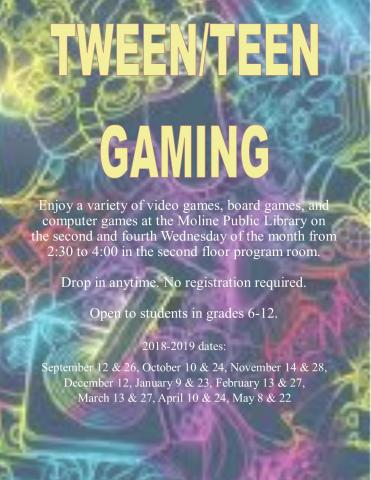 Tween/Teen Gaming: 2nd and 4th Wednesdays at 2:30