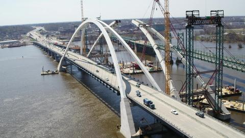 Work on the new I-74 Bridge arches